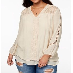 Style & Co Plus Size Layered-Hem Top Lace Crochet